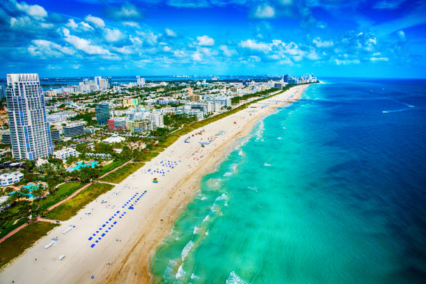 Beautiful shot of Miami's white sand beach